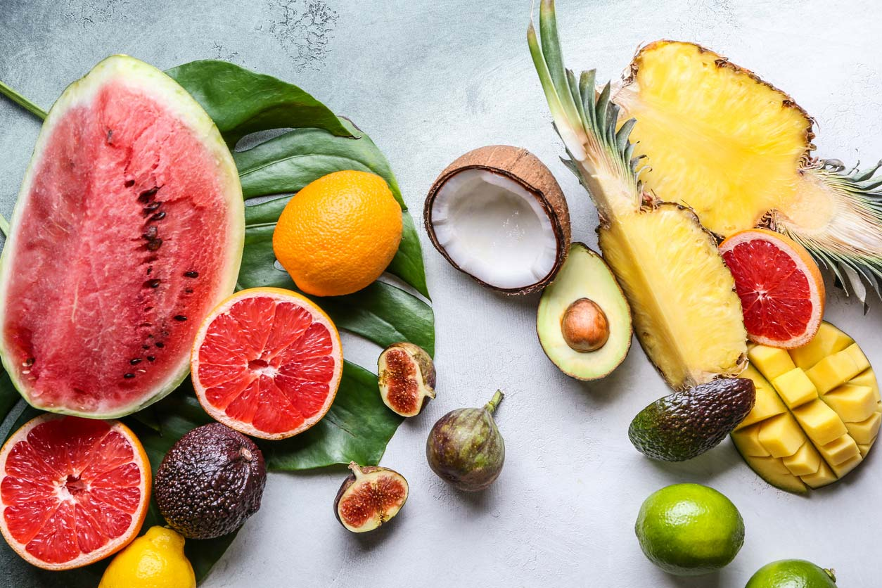 variety fruits on background