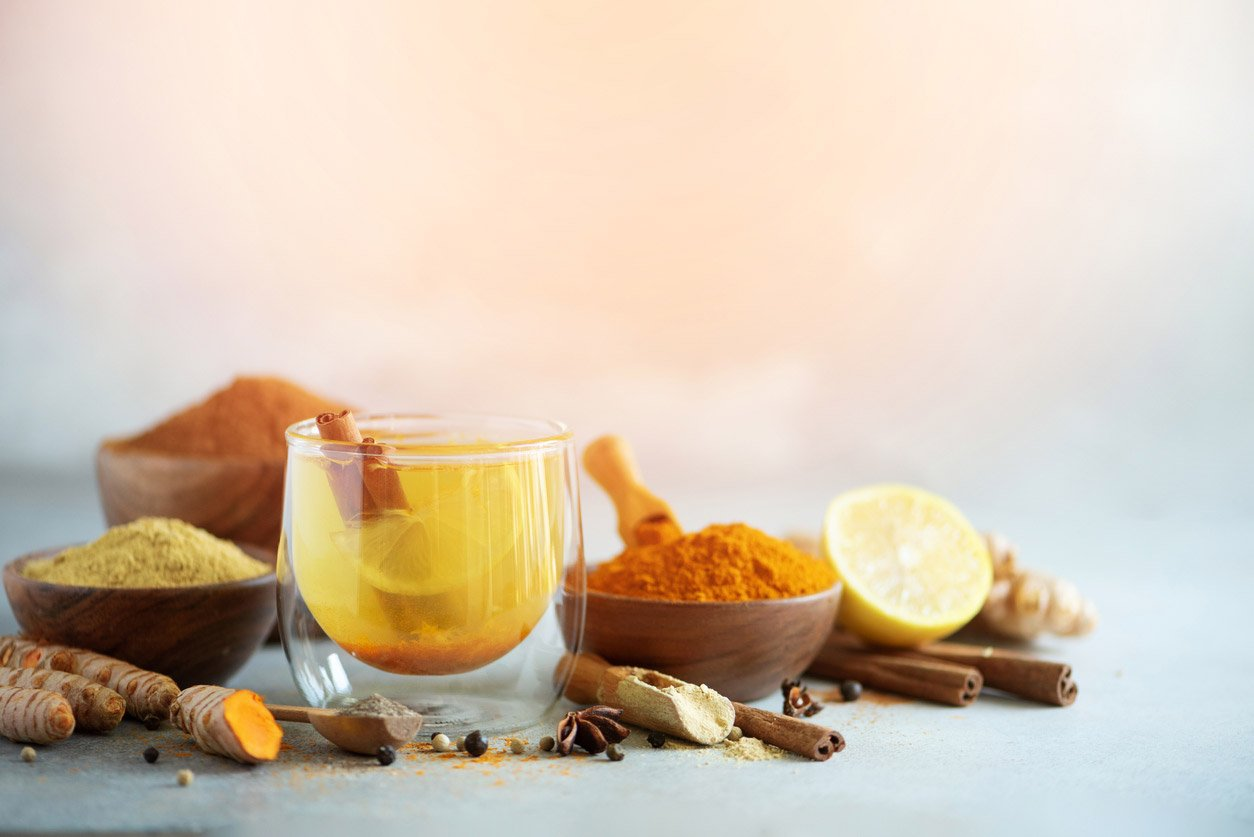 ingredients for turmeric hot tea