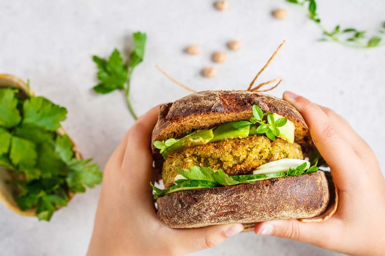 hands holding veggie burger