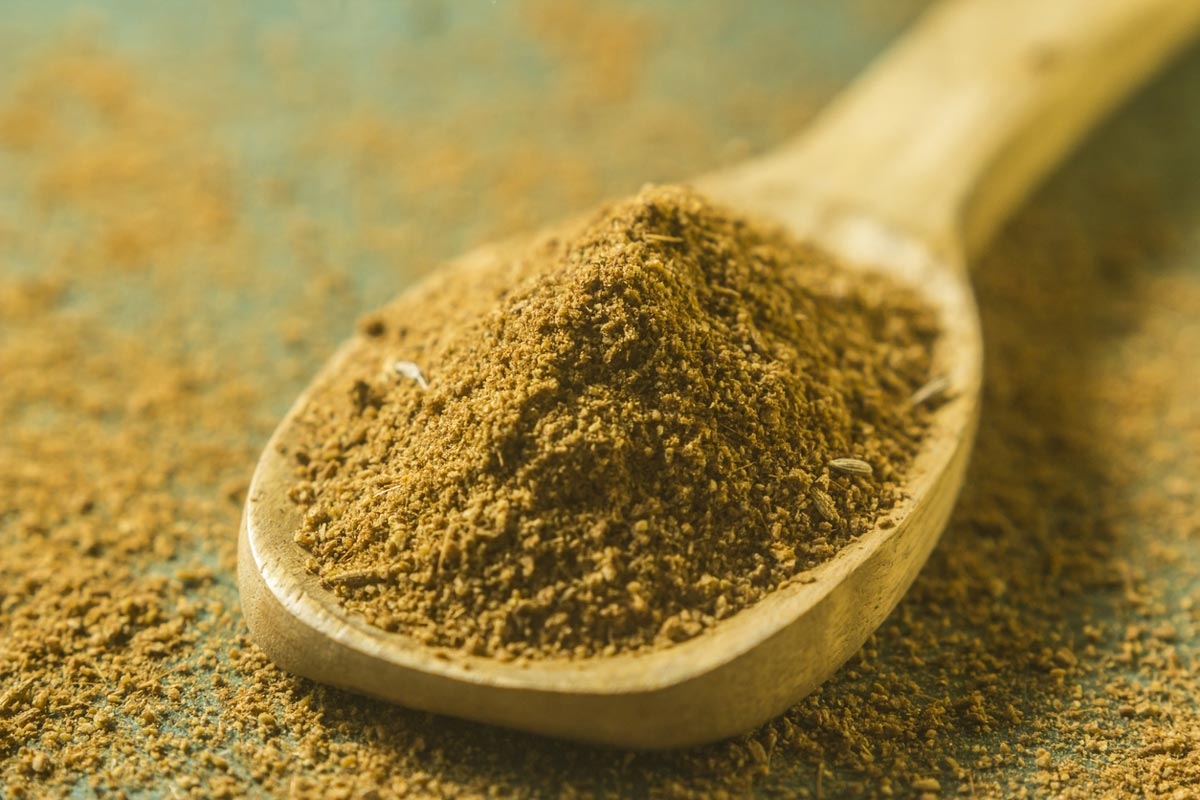 cumin powder in spoon