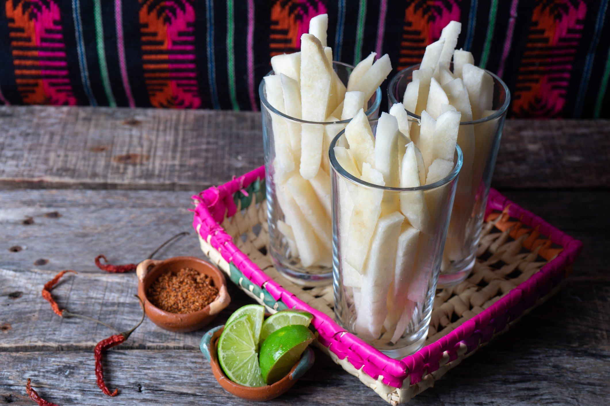 mexican cut jicama with lime and chili powder