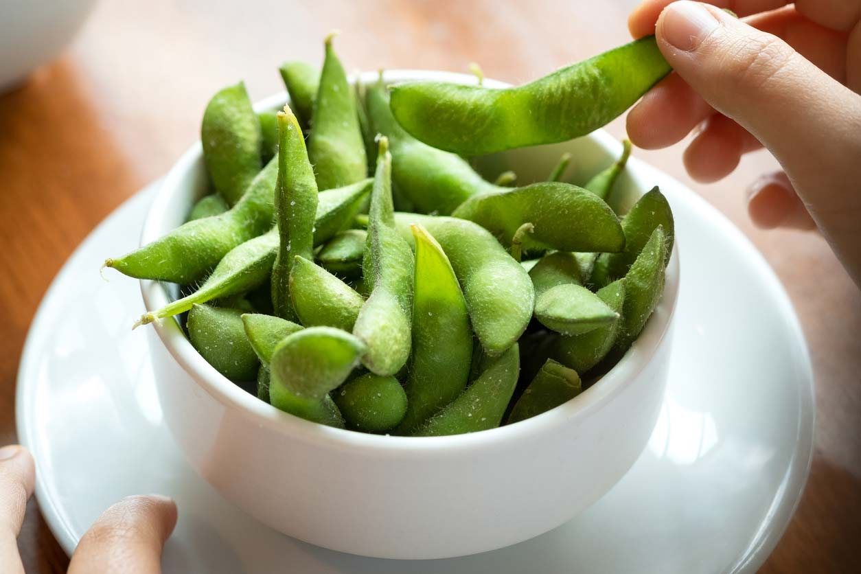 salted edamame soybeans in bowl