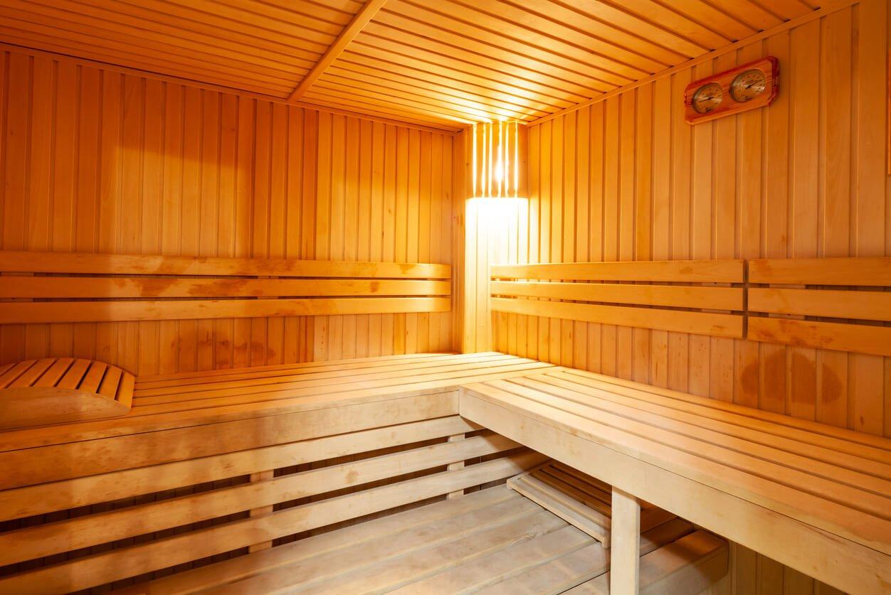 Standard wooden sauna interior