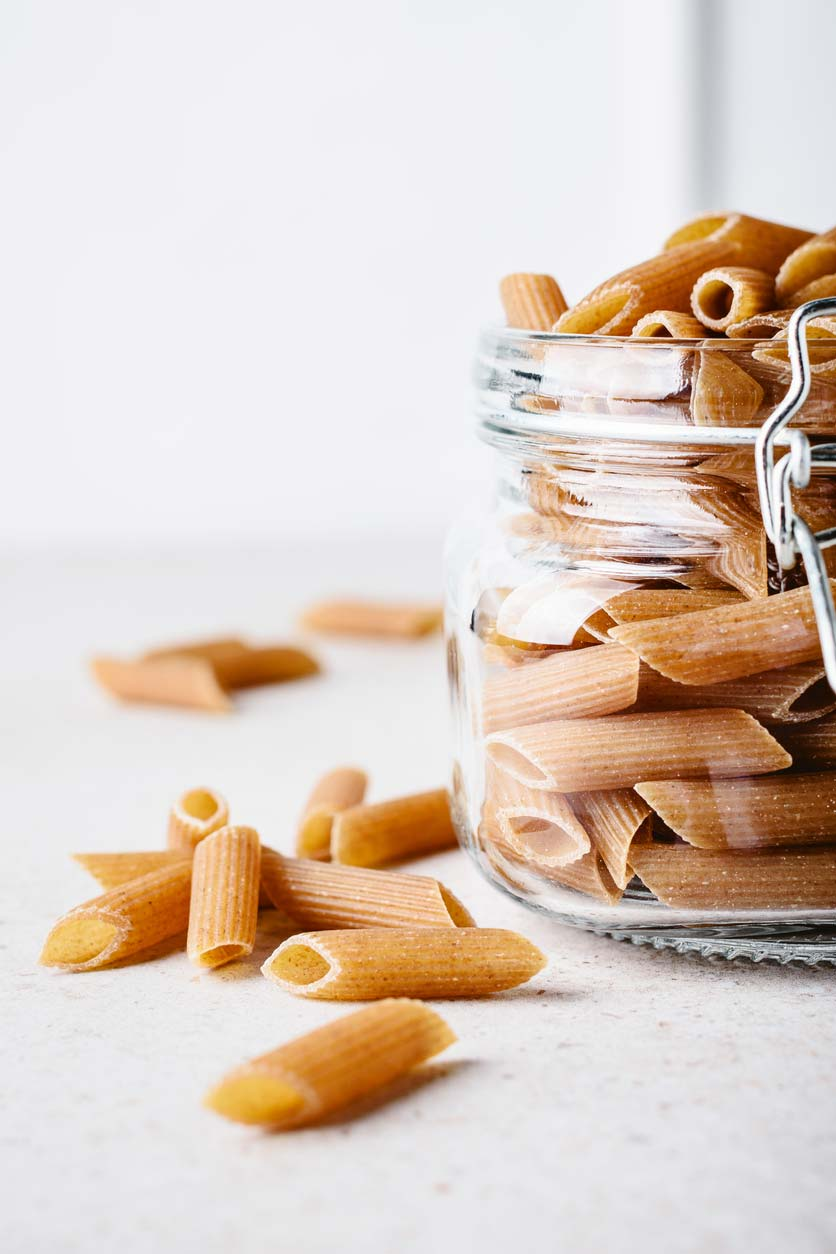 whole grain pasta in jar
