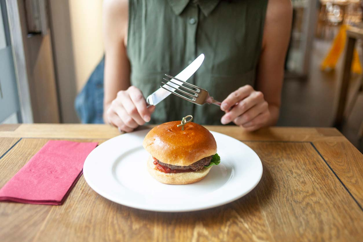 A lab-grown food: burger on a plate