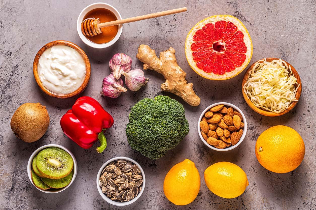 immune boosting foods displayed on table