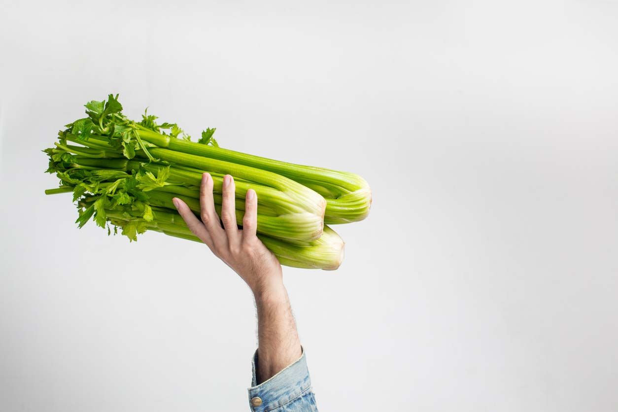 hand holding celery bunch