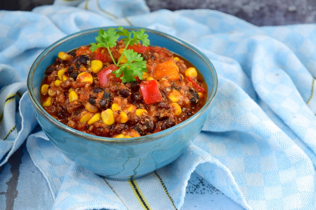 black bean quinoa in bowl