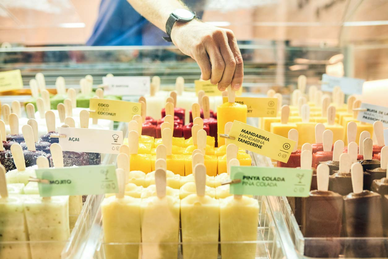 display of a variety of flavored popsicles