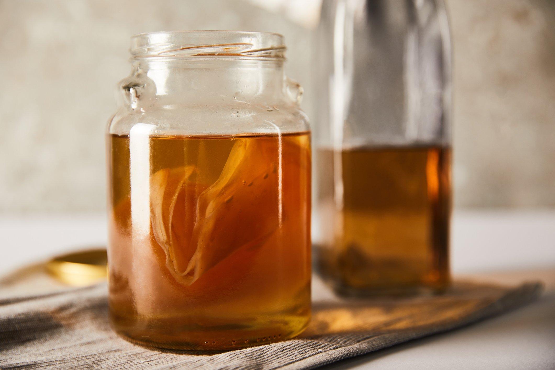 kombucha tea in a jar