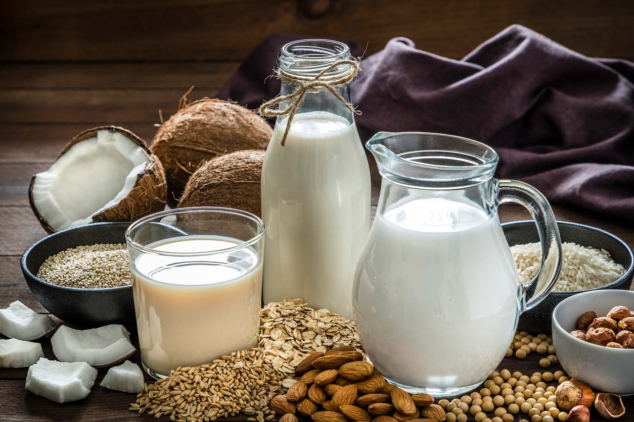 Various kinds of vegan substitutions for milk