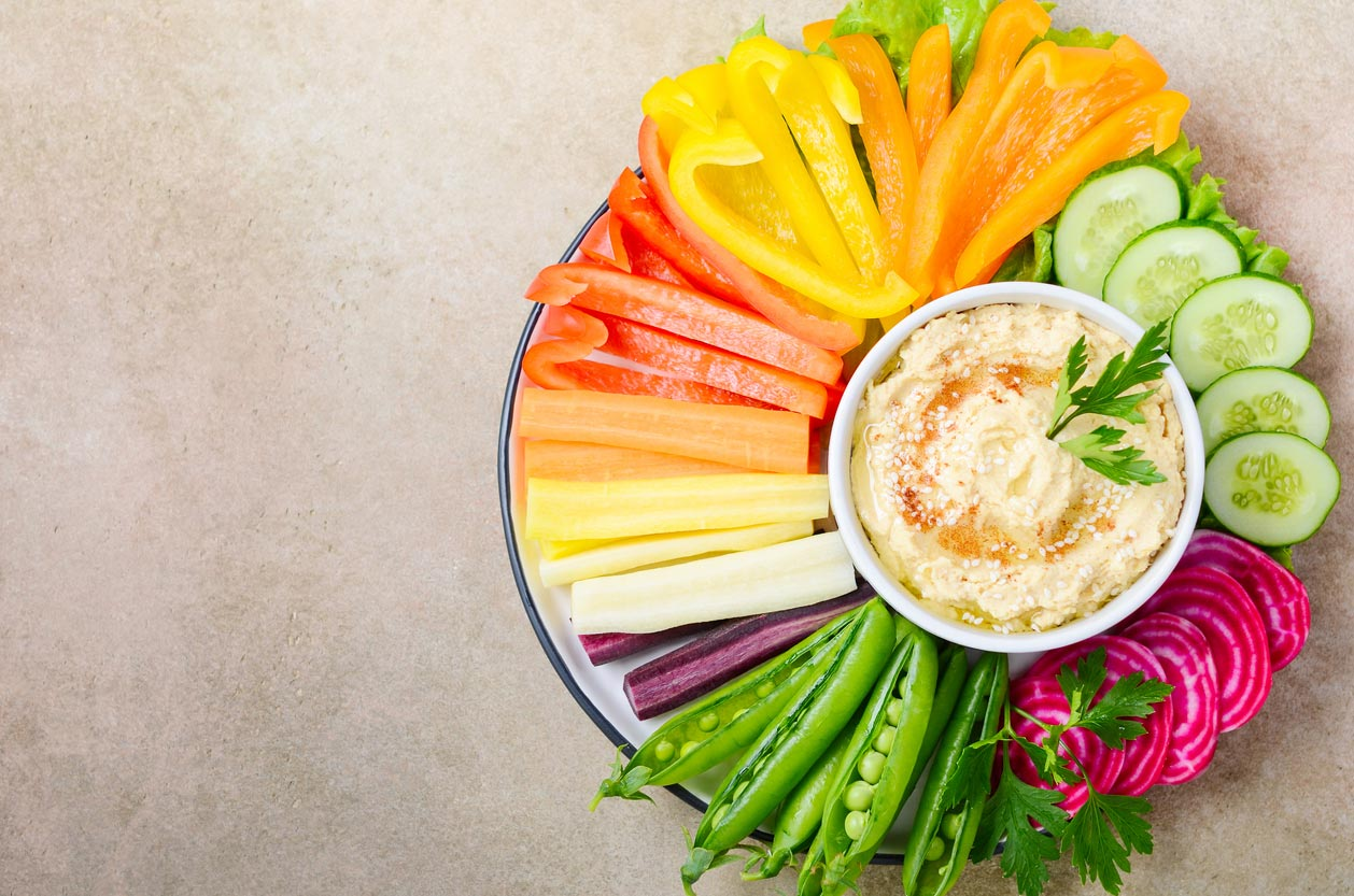 chopped veggie platter with hummus