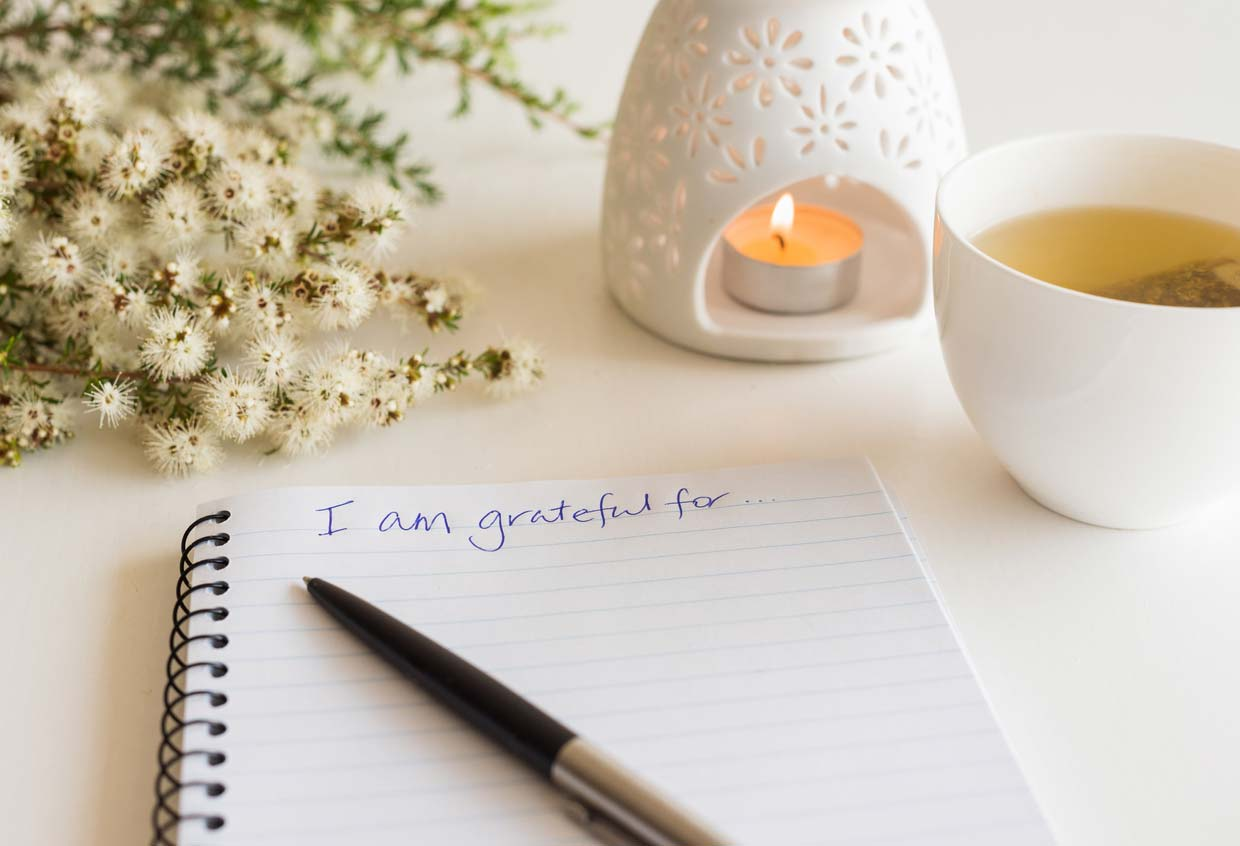 practicing gratitude in a notebook