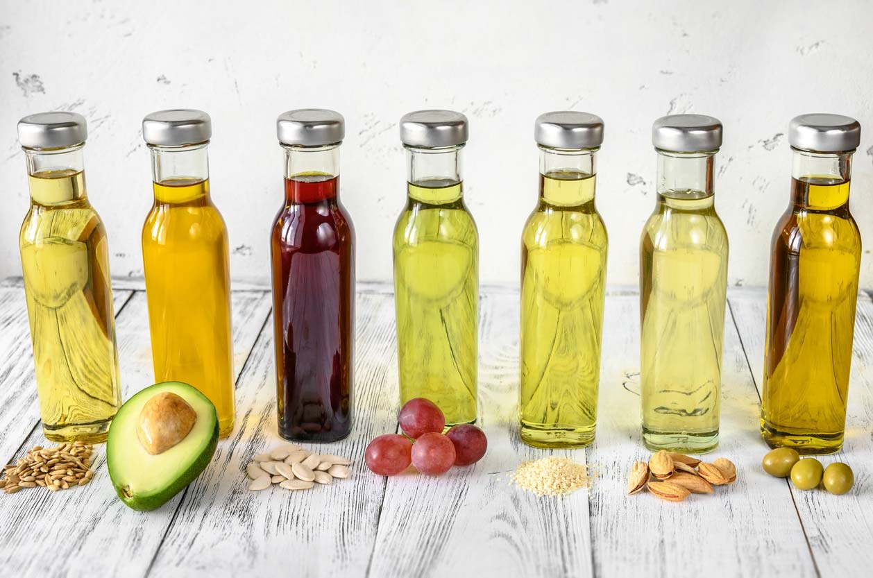 Assortment of vegetable oils in jars
