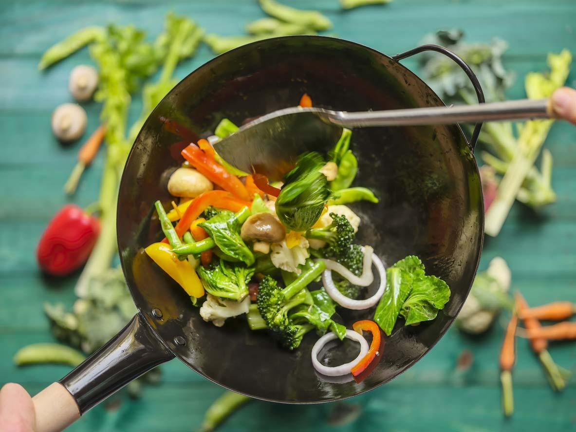stir-frying variety of veggies