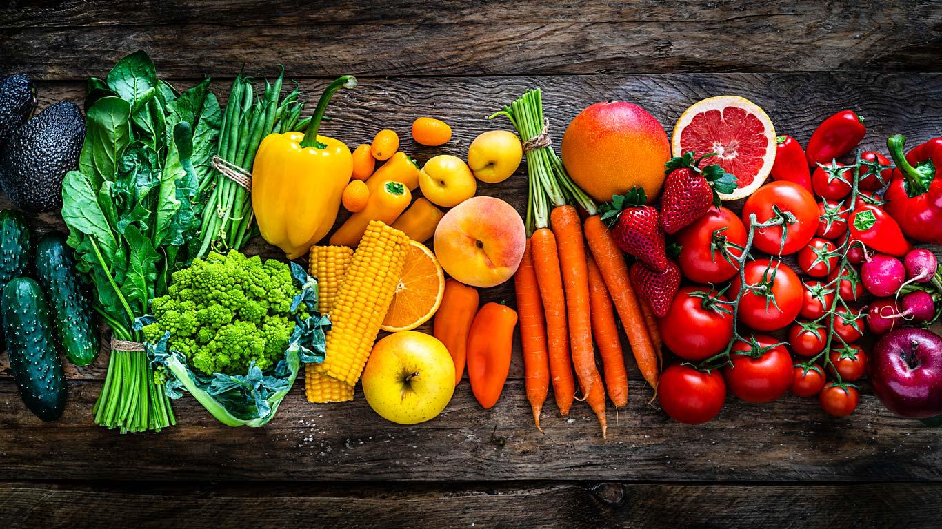 healthy fresh rainbow colors fruit and veggies
