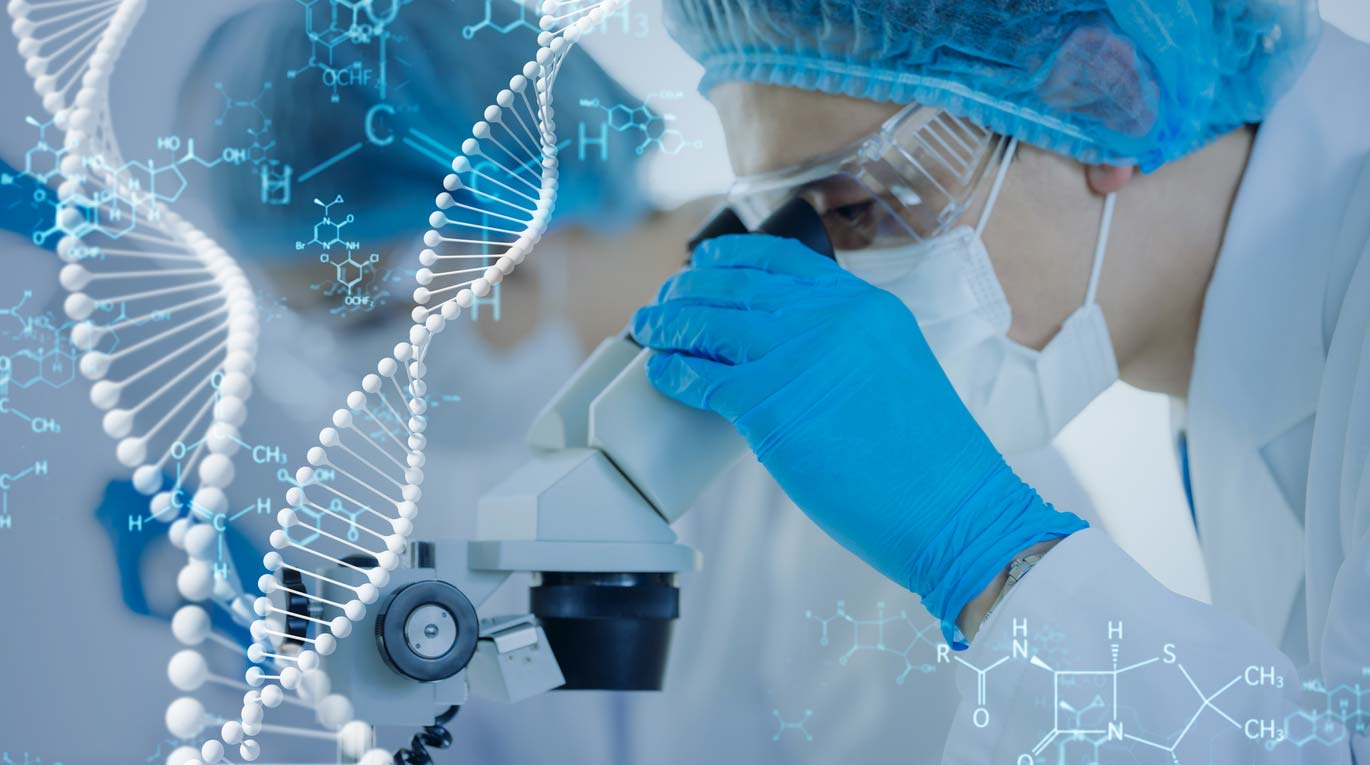 researchers in lab with genetic engineering and DNA graphics