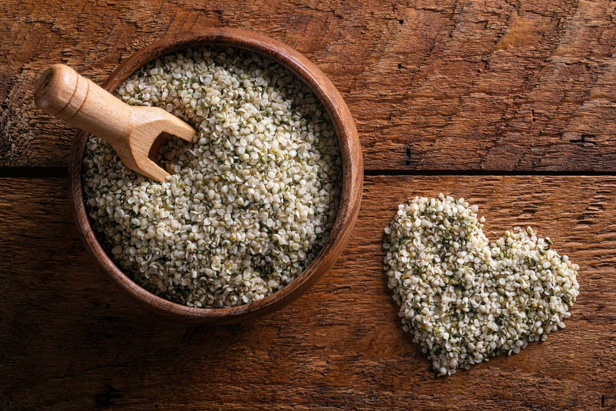 Hemp hearts in bowl and in shape of a heart