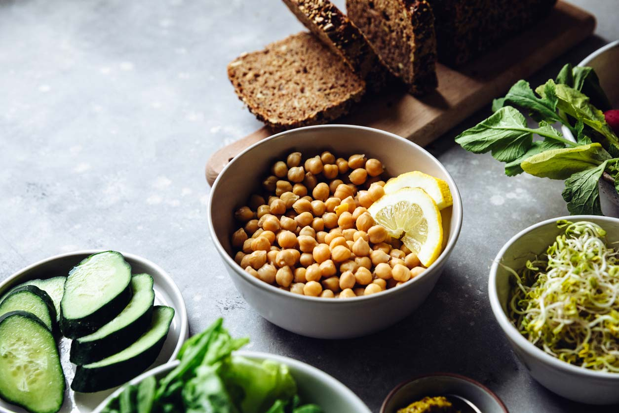 close up of vegan sandwich ingredients including chickpeas