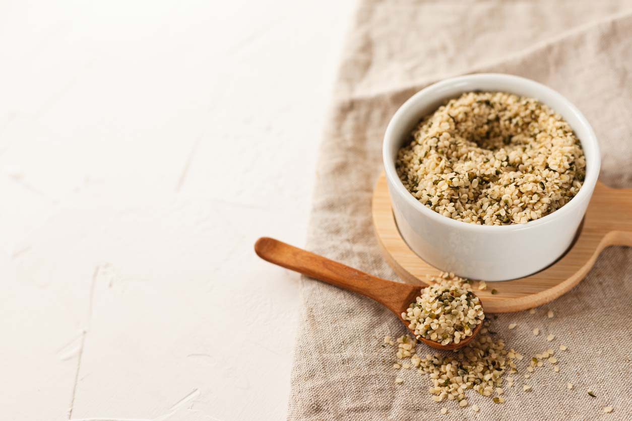 Hemp hearts in a bowl
