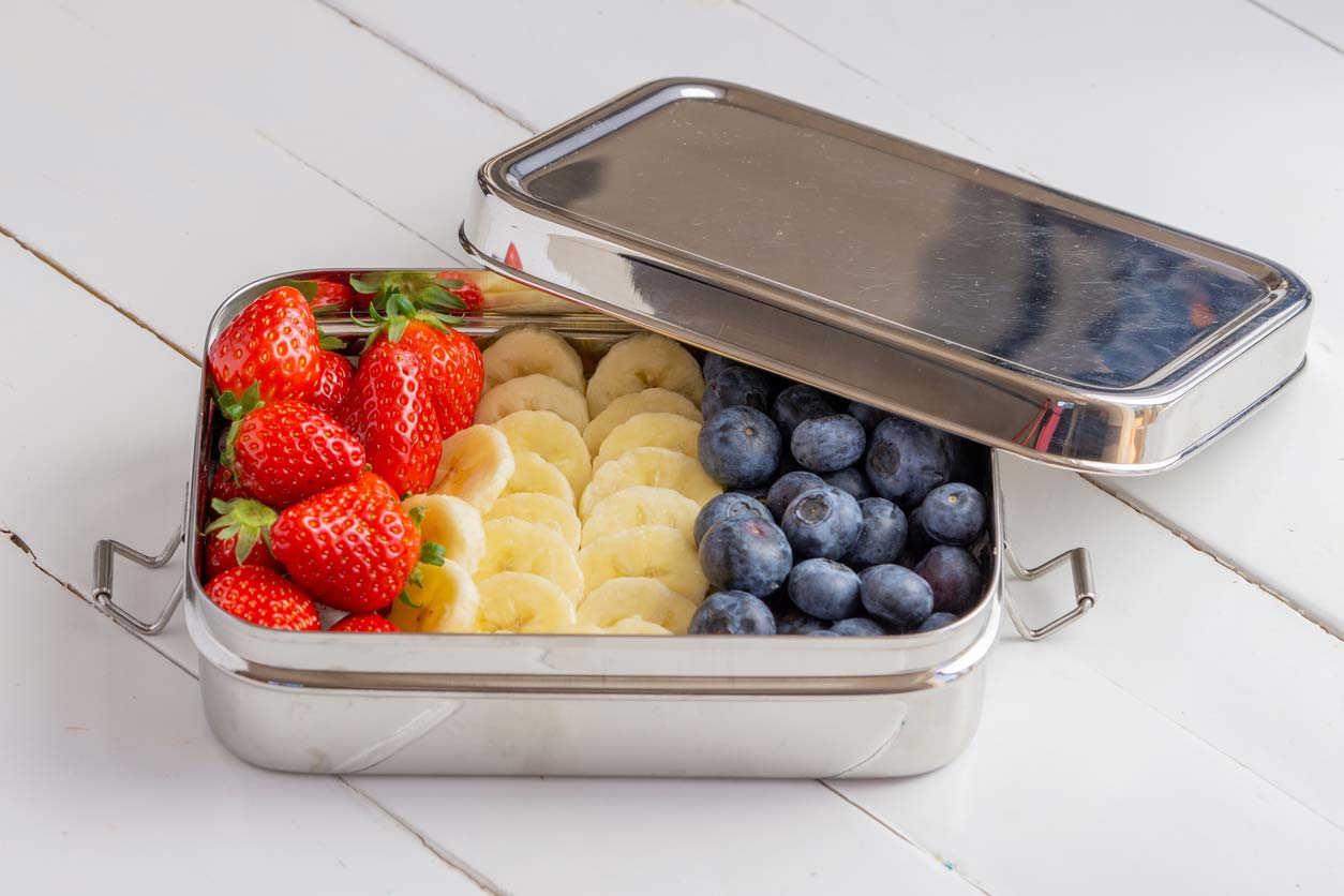 Stainless steel food storage container with fruit (plastic-free)