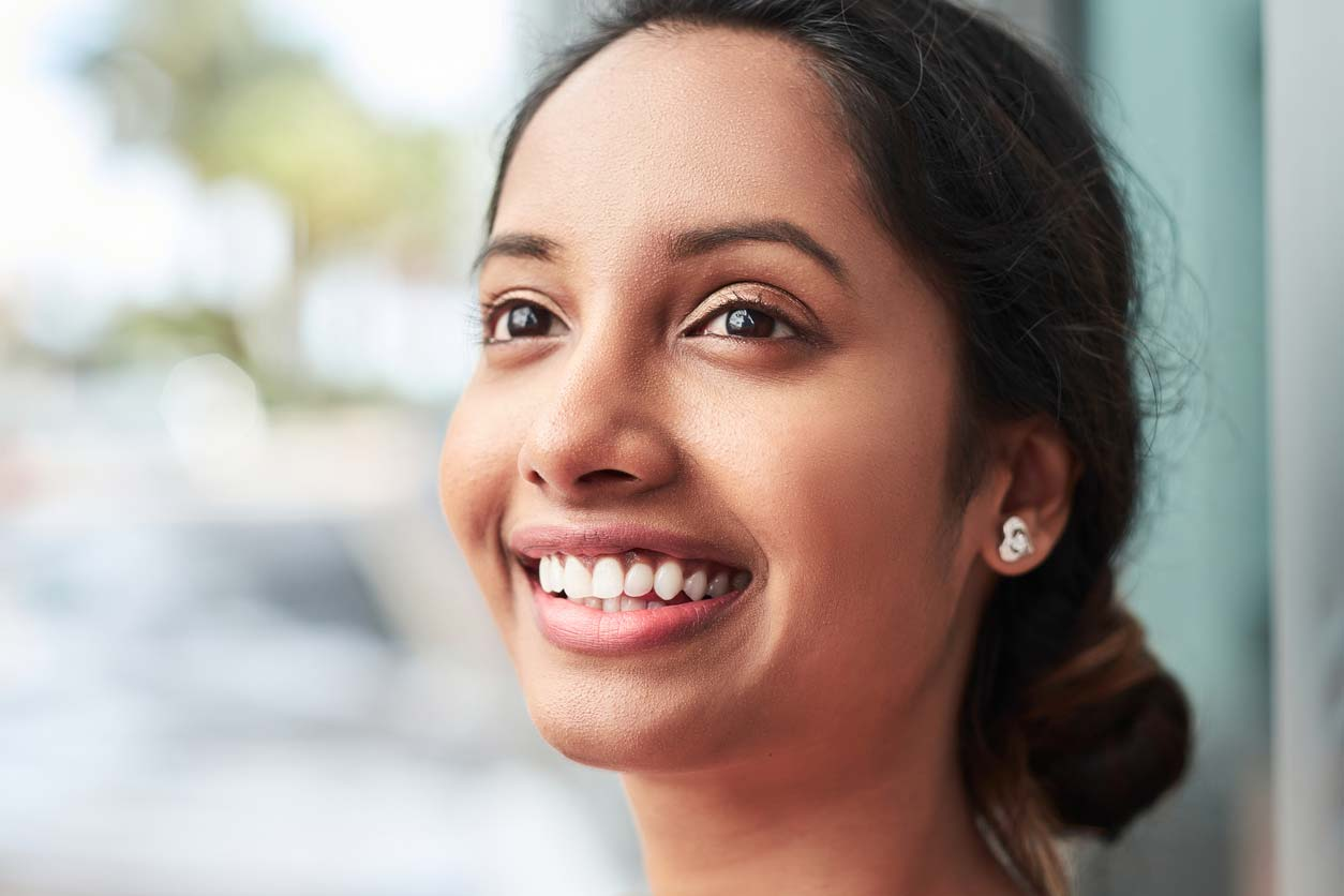 closeup headshot of woman smiling