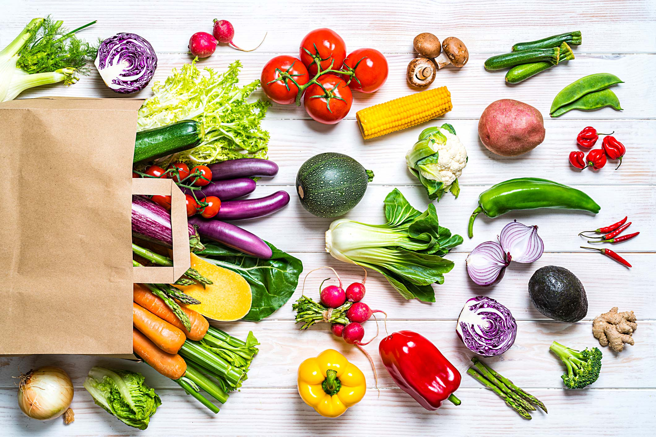 Fresh fruits and vegetables from the dirty dozen and clean 15 lists