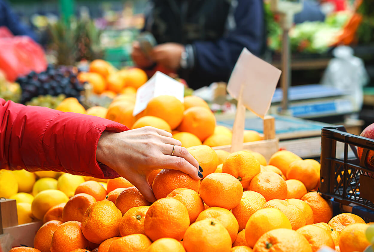 sales of fresh and organic fruits and vegetables at the green market or farmers
