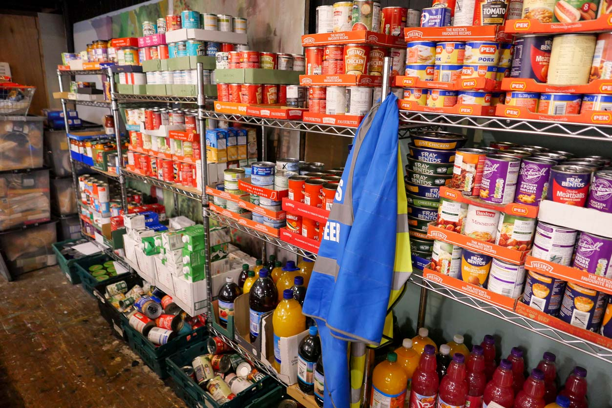 Food pantry with shelves stocked