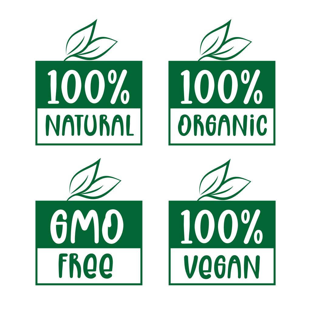 labels for 100% natural, organic, vegan, or GMO free