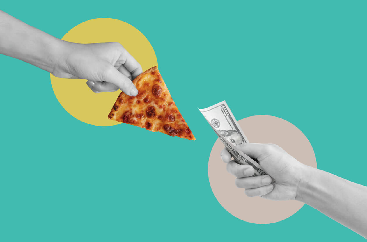 digital collage modern art hand holding slice pizza and hand holding money