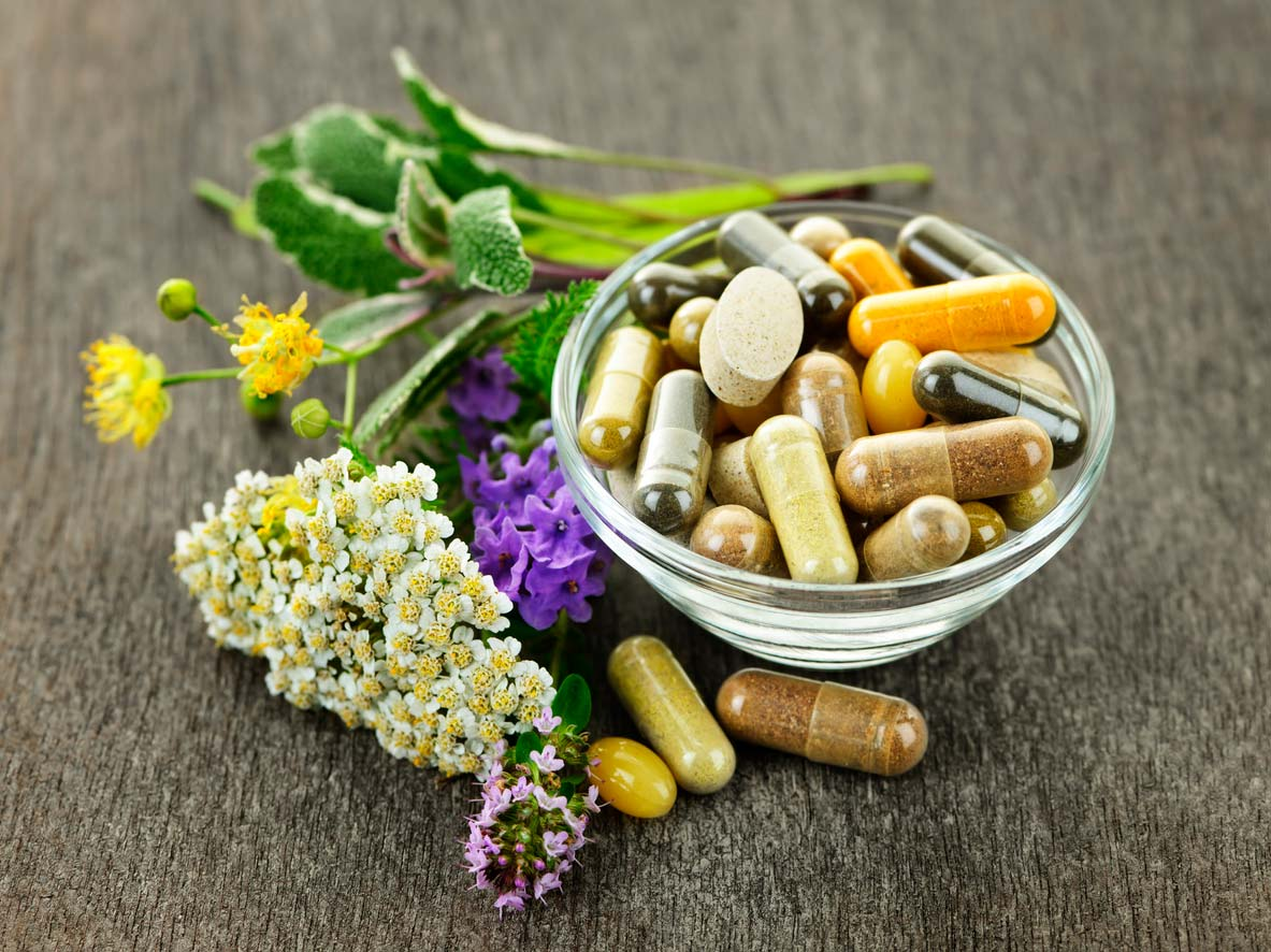 herbal adaptogen supplements in bowl