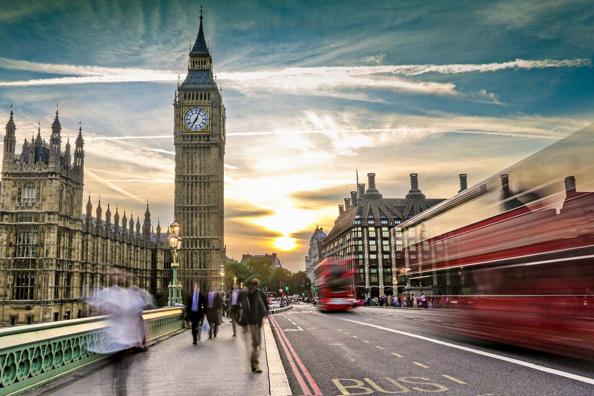 view of london on the move with big ben in background
