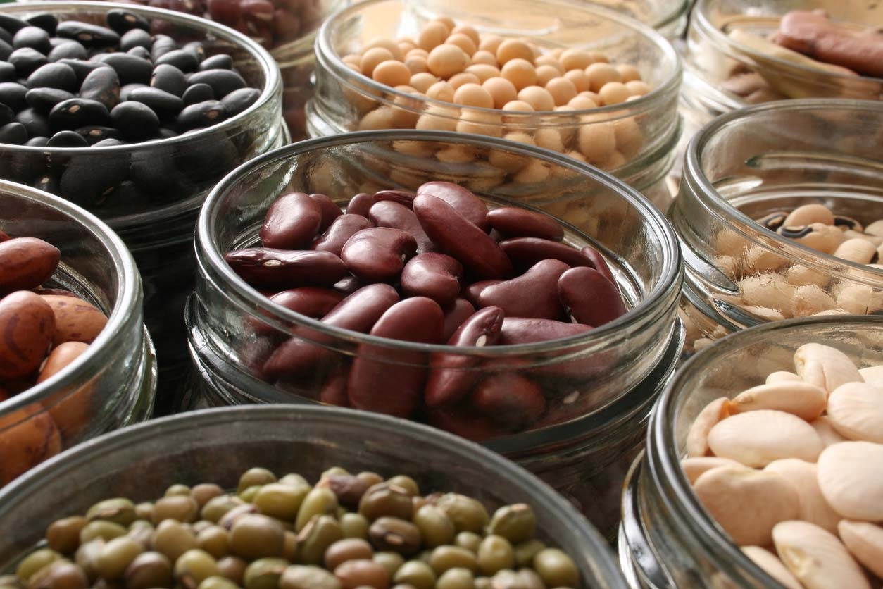 variety of beans in jars