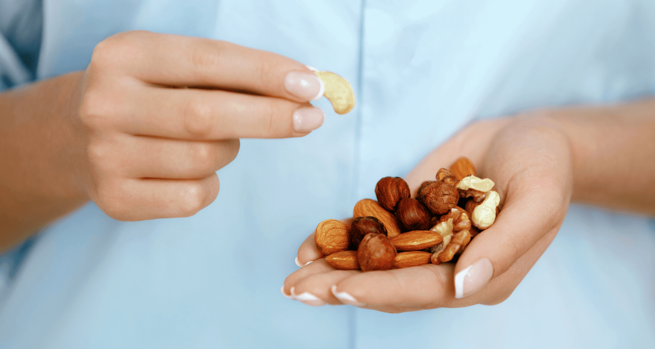 Woman's hands with nuts