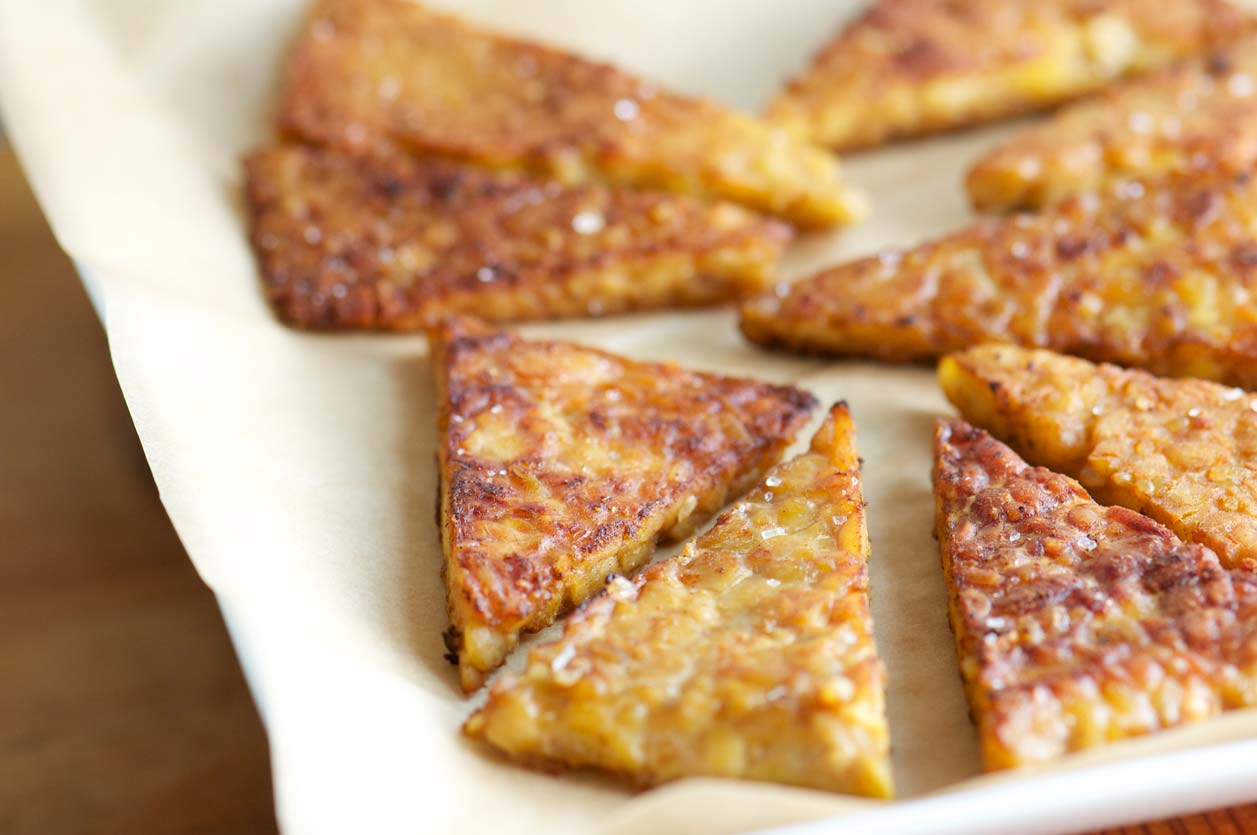 fried tempeh triangles