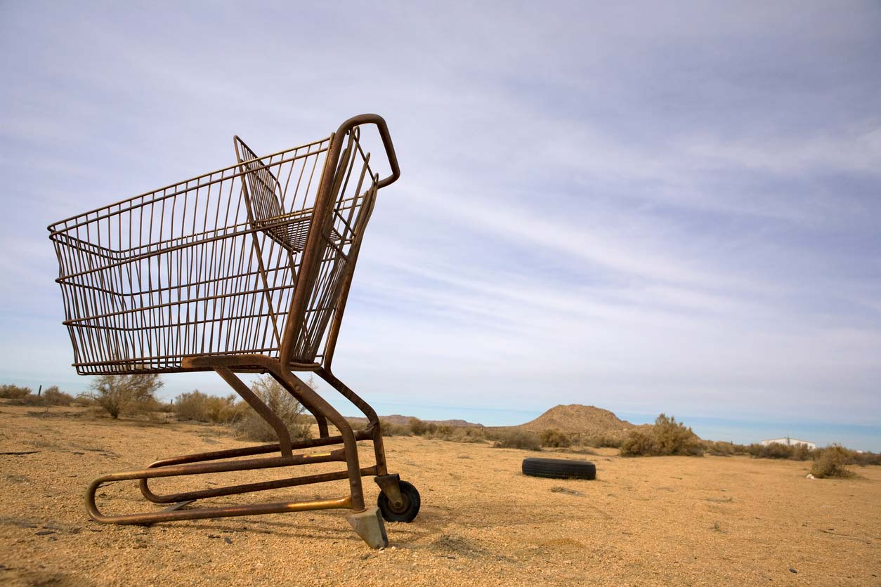 Food desert - empty shopping cart in desert