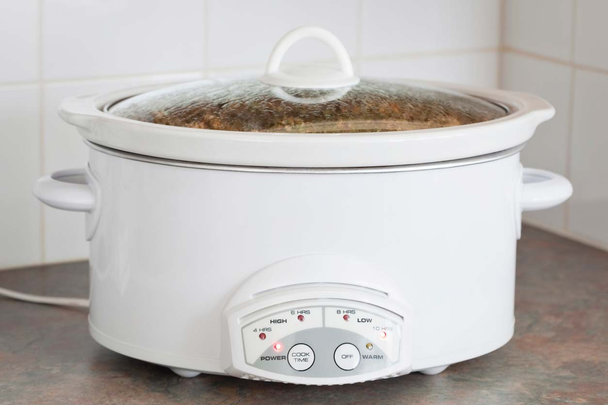 Slow cooker cooking a plant-based meal