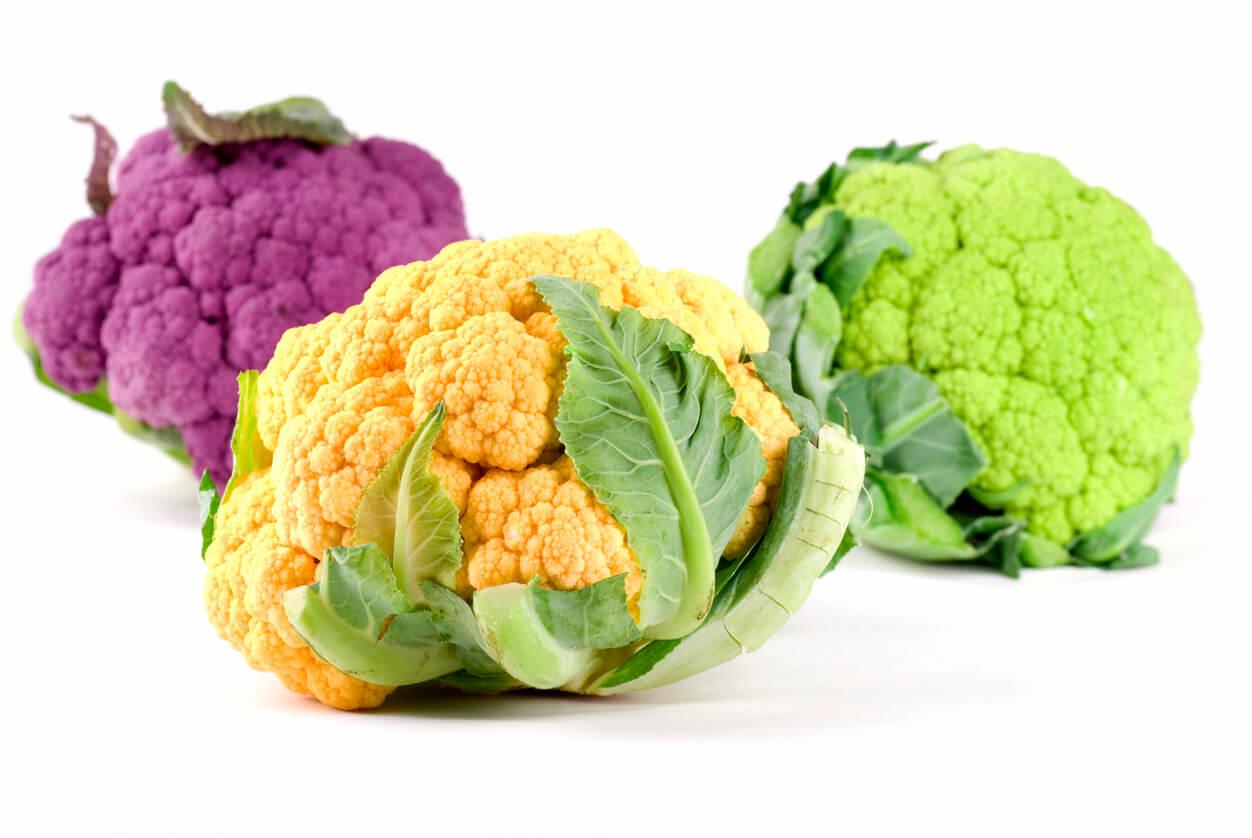 yellow green purple cauliflower