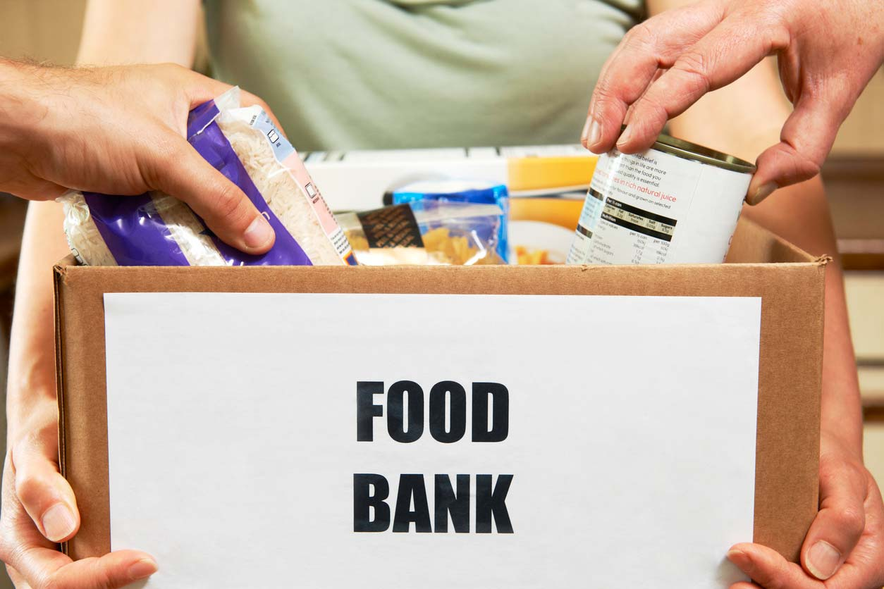 Donations in box for food bank