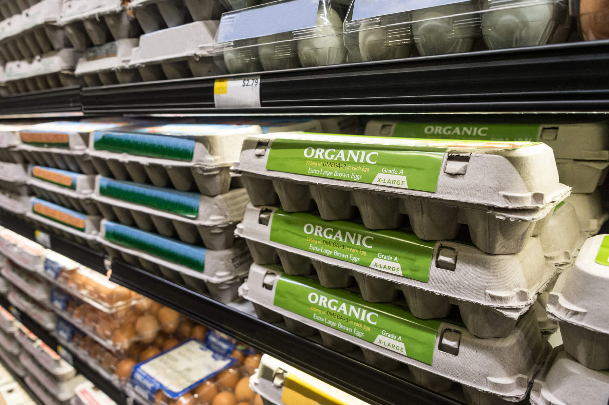 organic egg cartons on a shelf