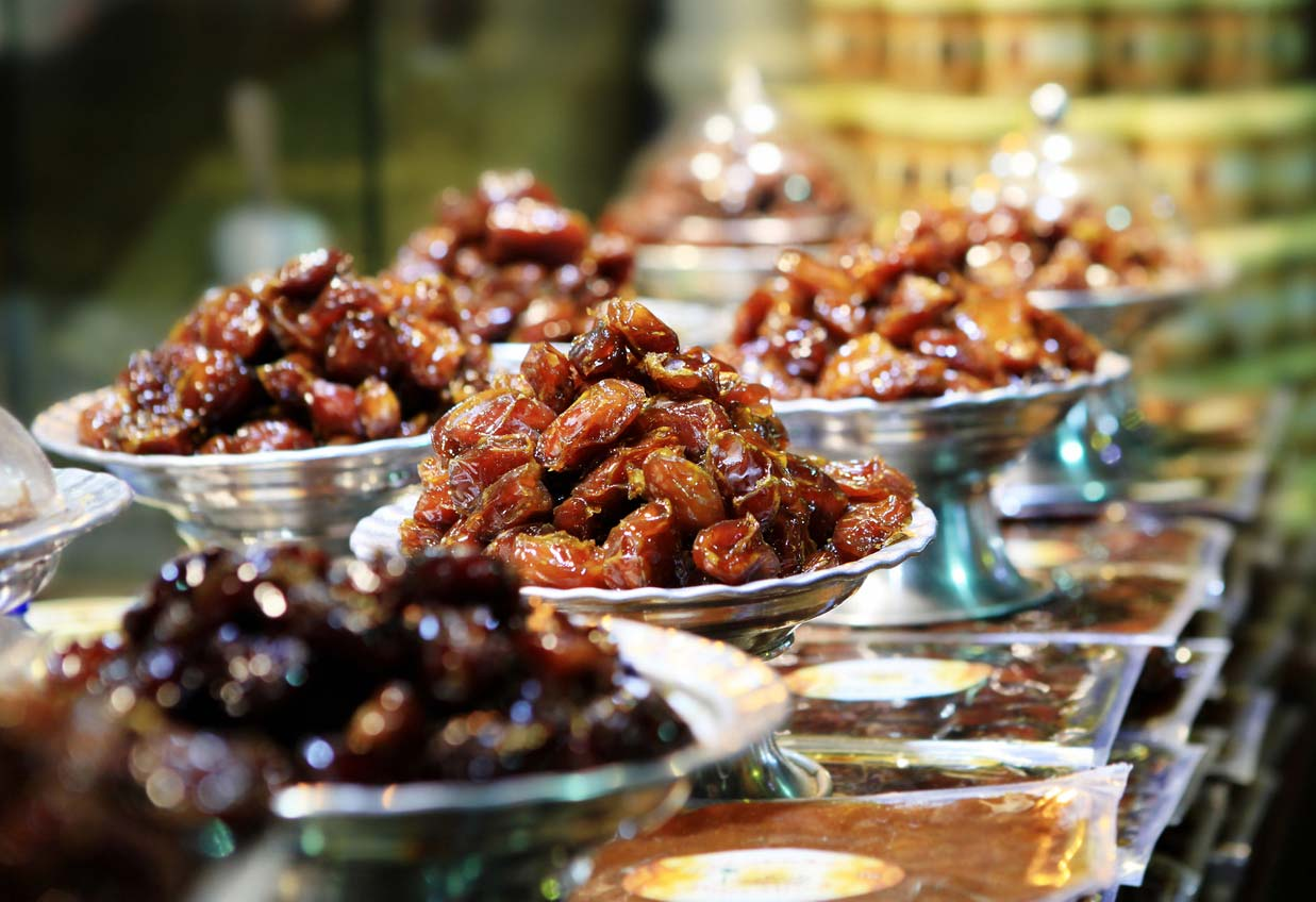 variety of dates in different bowl displays