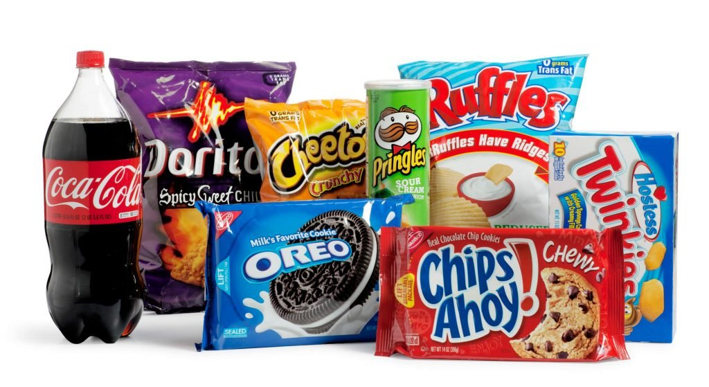 A variety of processed junk food full of sugar