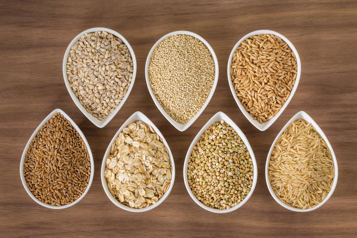 variety of whole grains in bowls