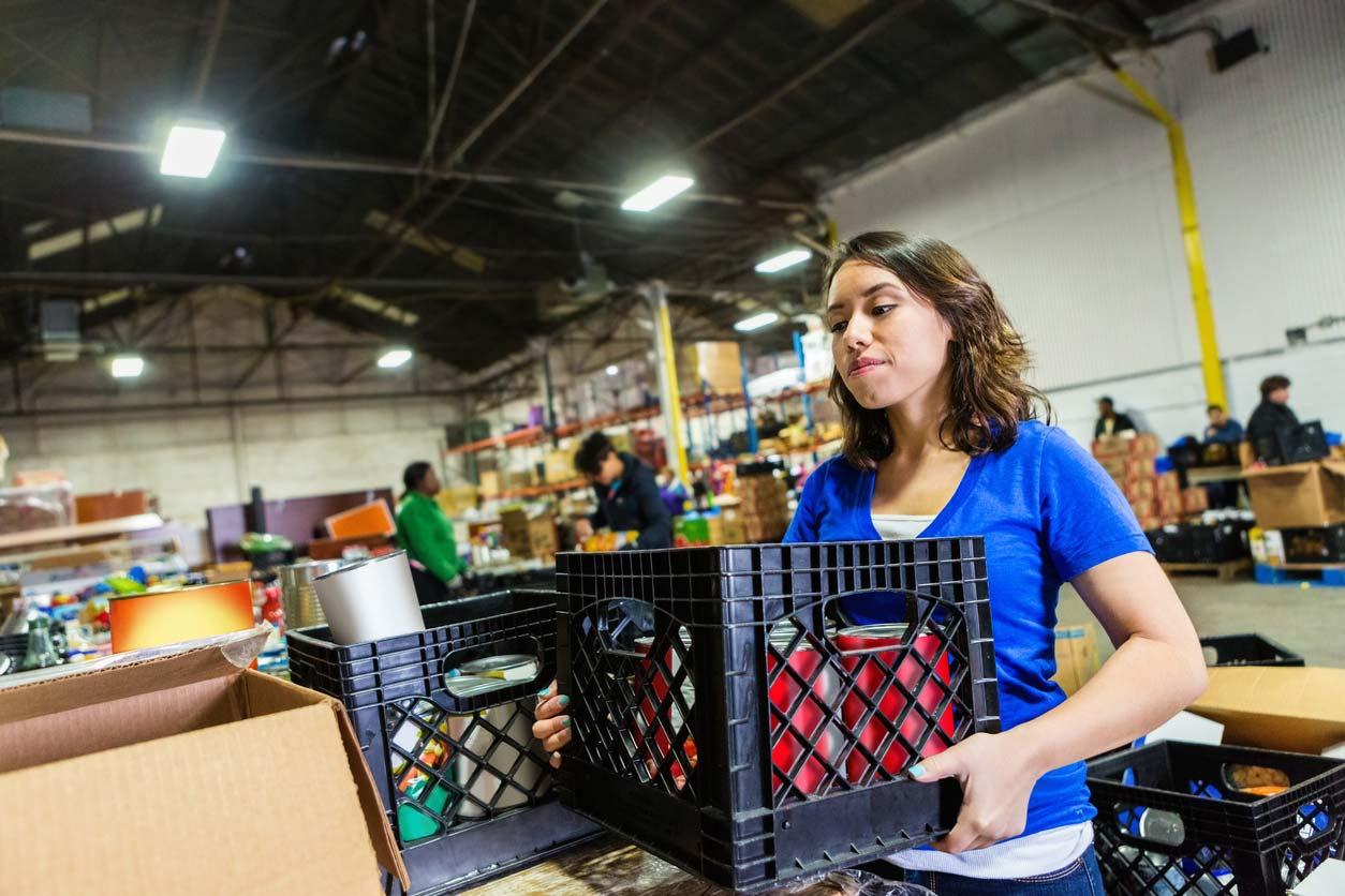 Female volunteer at food bank