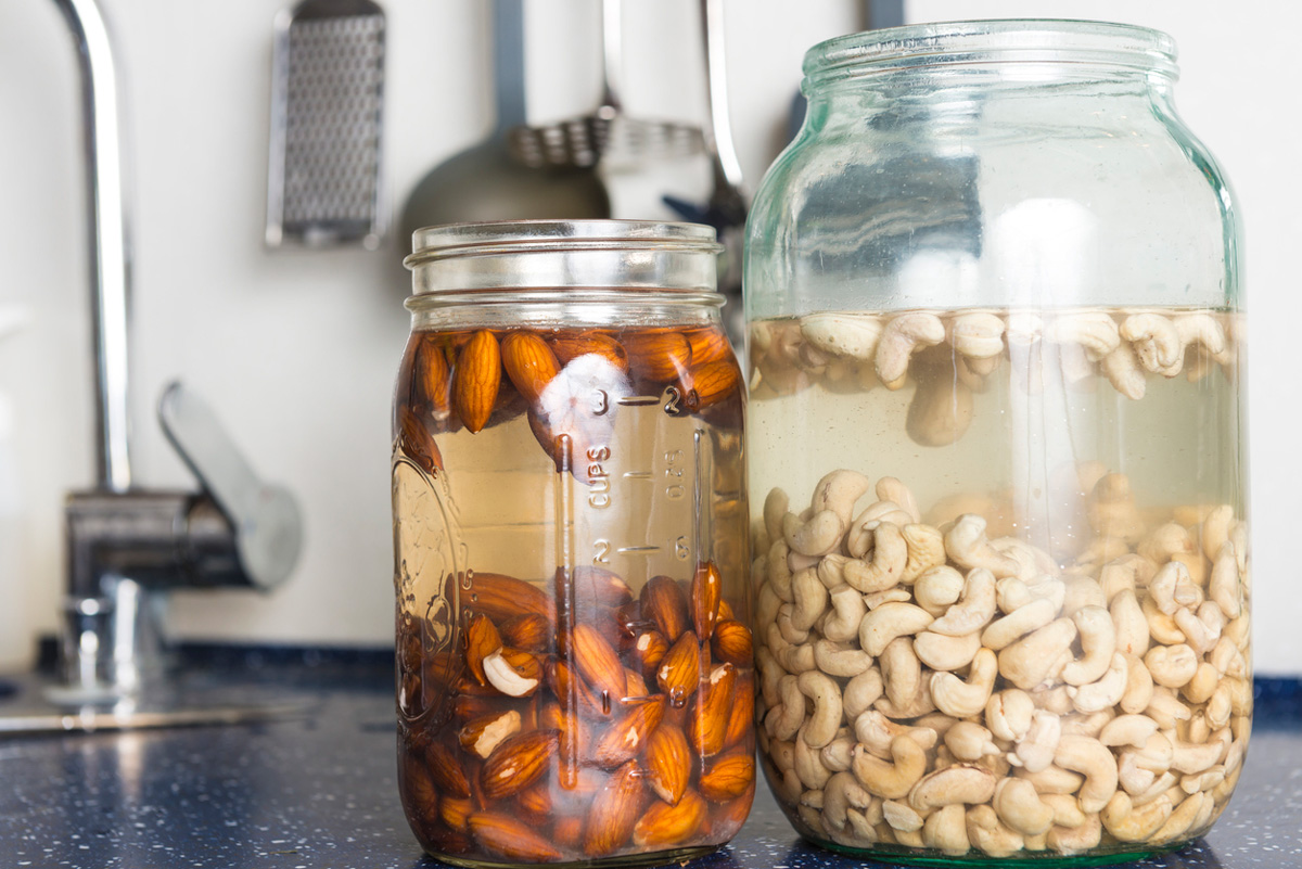 nuts in jars of water