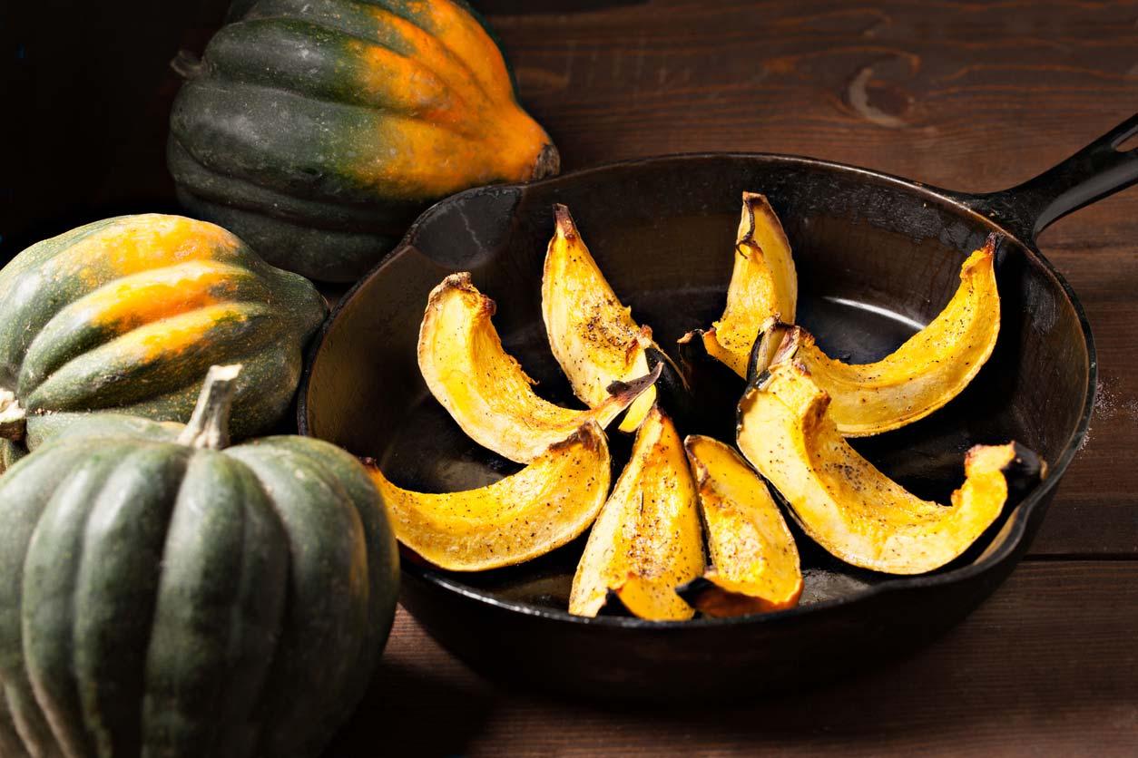 Frying acorn squash
