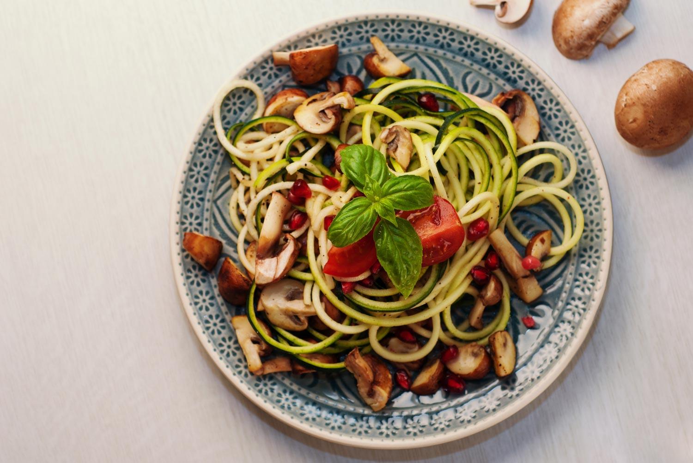 zucchini pasta in bowl