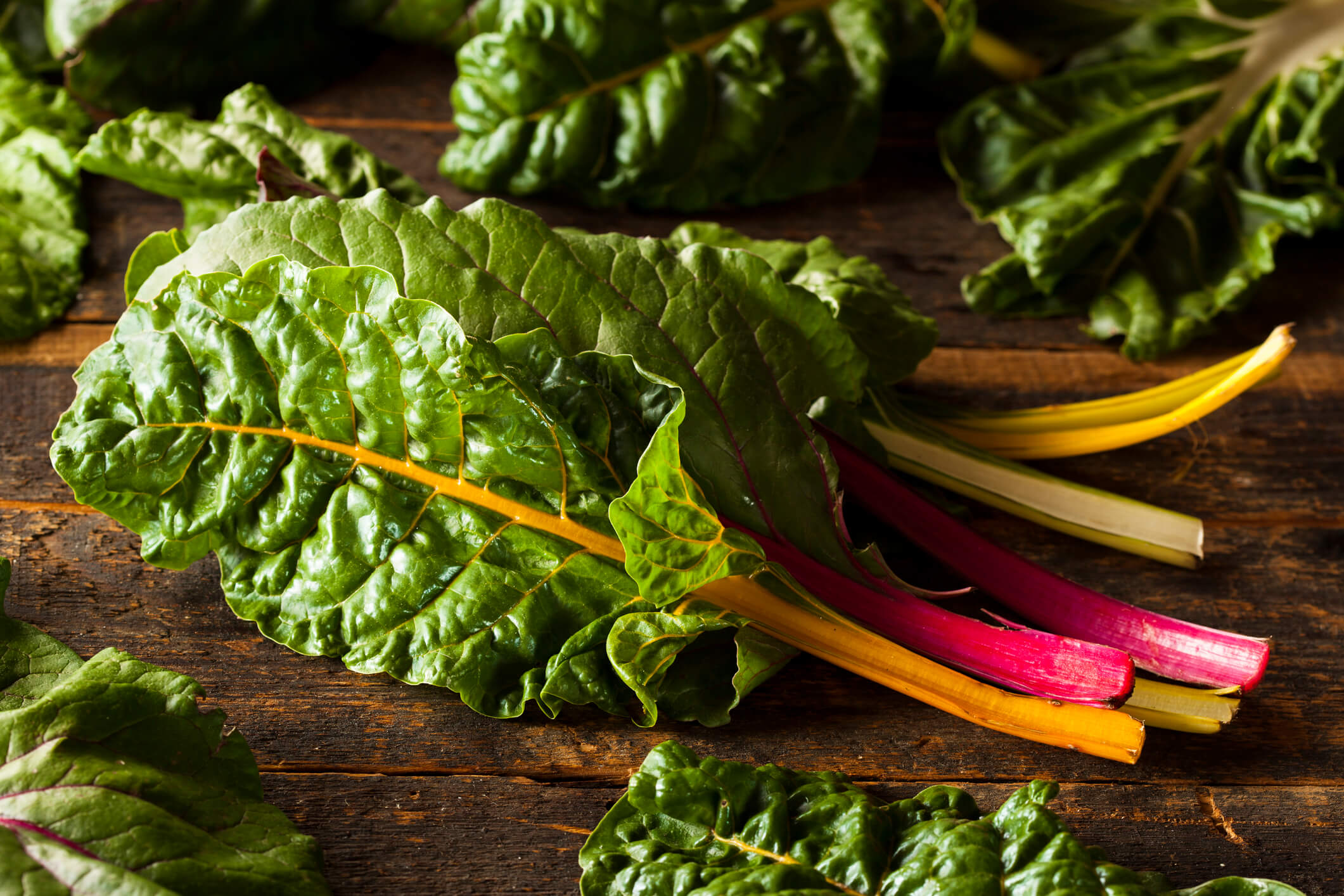 Spring vegetables and fruits: rainbow chard