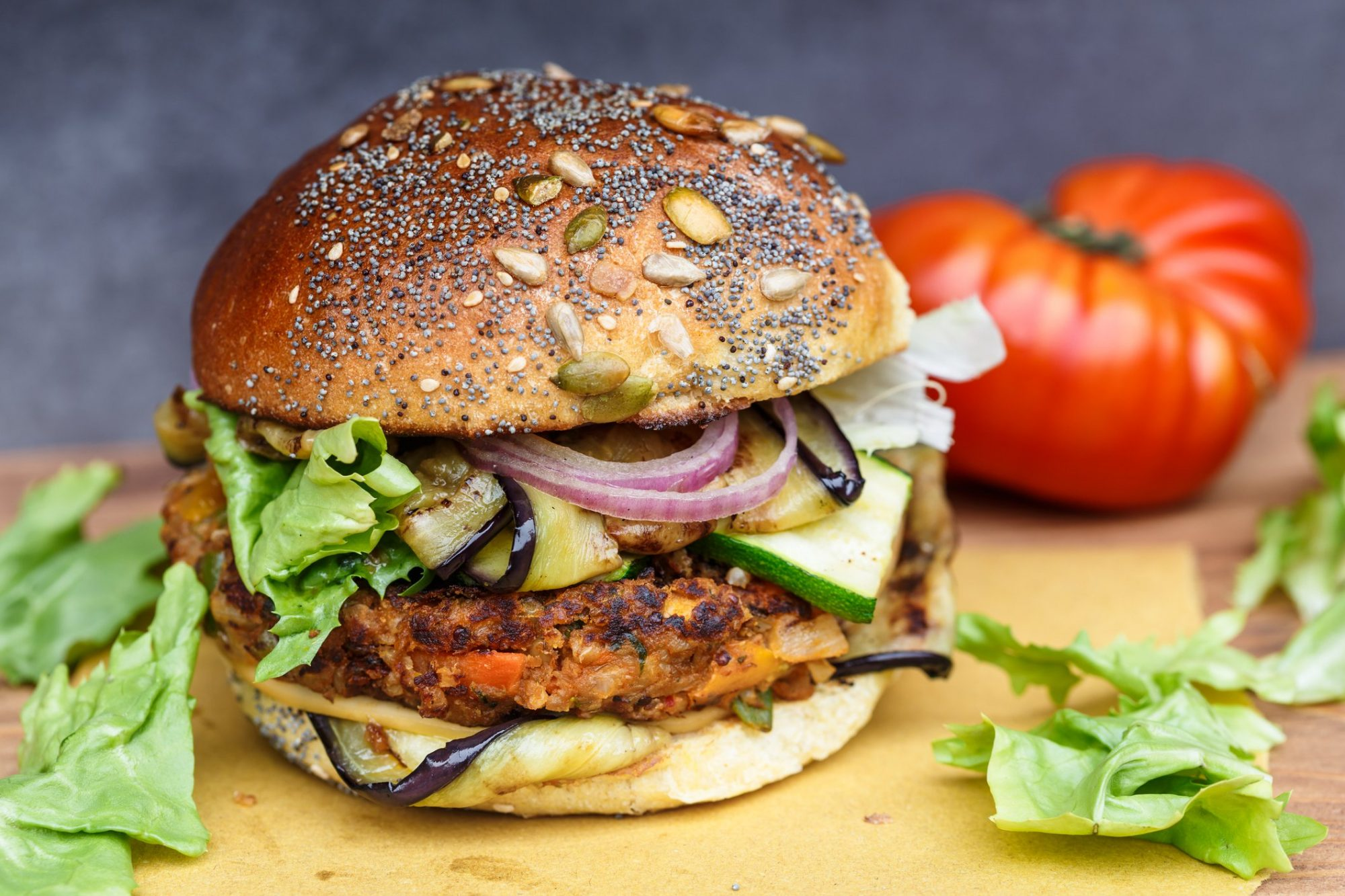 Veggie burger piled high with vegetables